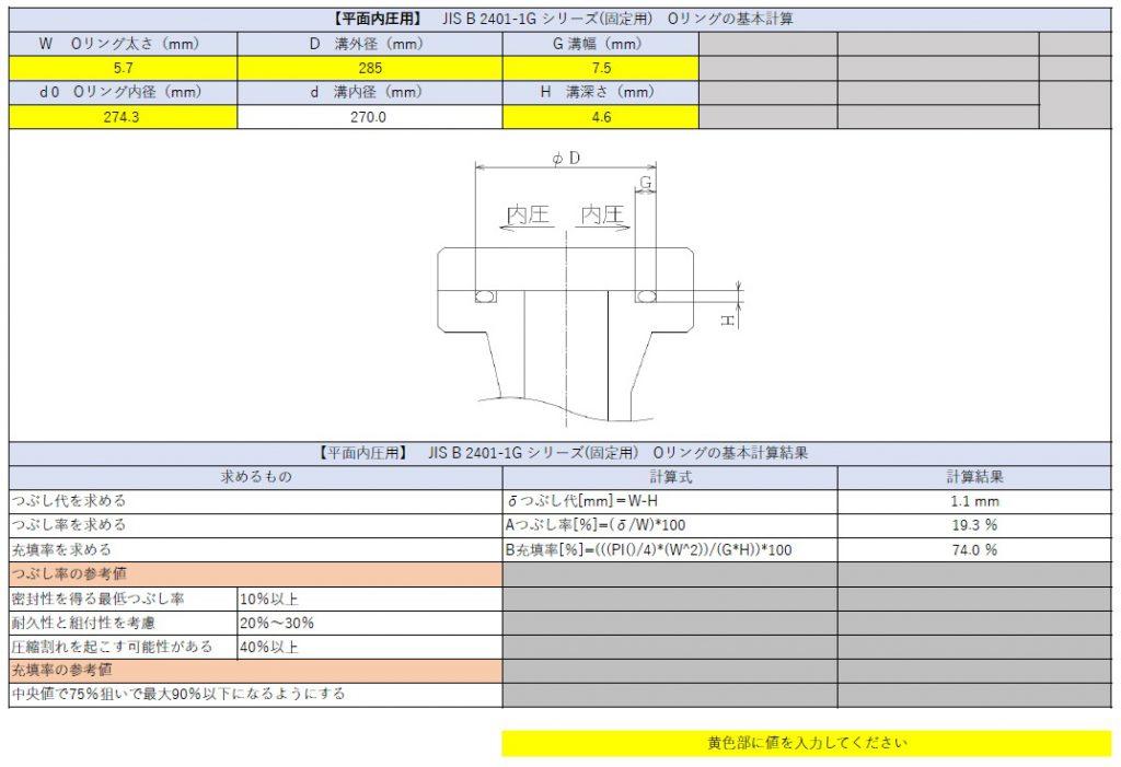 フランジに使う固定用Oリングのつぶし代・充填率の計算方法