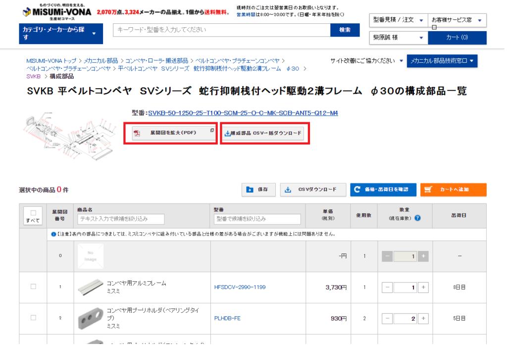 ミスミ製の組立品(コンベアなど)の構成部品の一部を個別注文する方法2